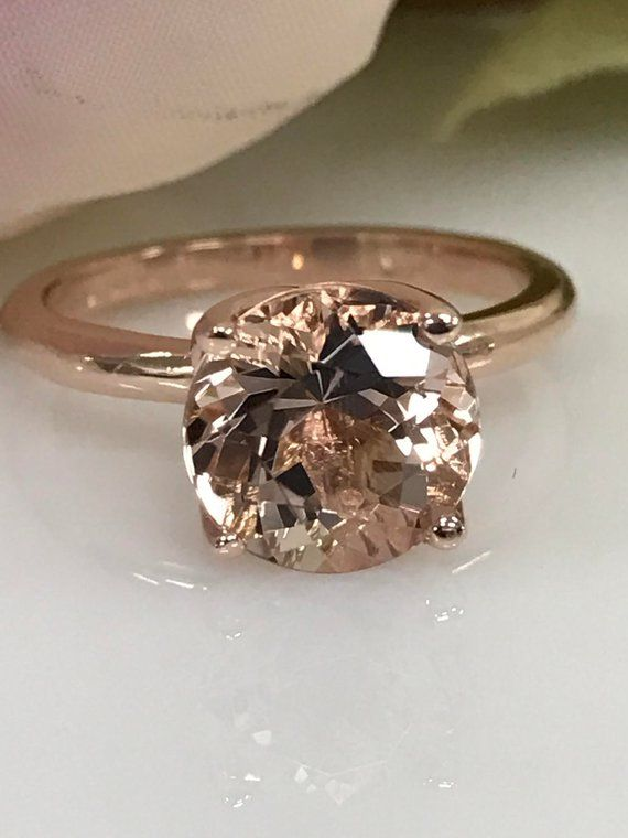 Morganite Engagement Ring 9MM Morganite, Morganite Wedding Ring Promise Ring Morganite 14k Rose Gold with Unique Tulip Style Head #4941