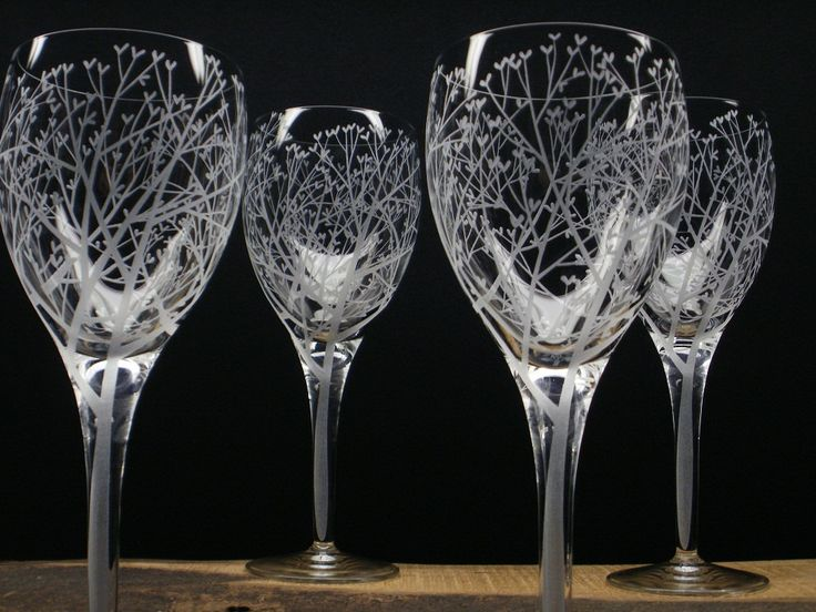 Four Wine Glasses . 'Tree Of Love' . Hand Engraved . Wedding Party Gift . Tree Branch Barware by daydreemdesigns on Etsy