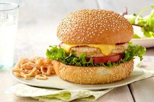 Grilled Turkey Burgers Recipe - Kraft Recipes -- sub Greek yogurt to make it clean . Or avocado