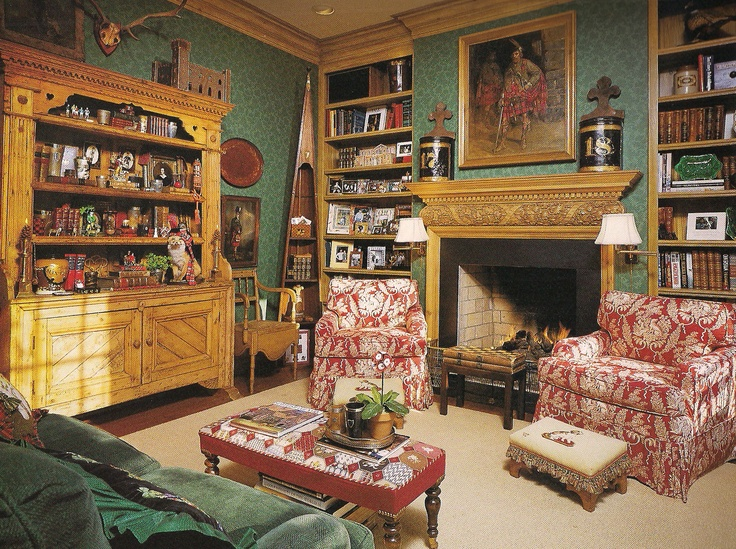 A colorful and cozy Study is located   just off the Entrance Hall.  Photo by David Schilling for Veranda from the Devoted Classicist Blog