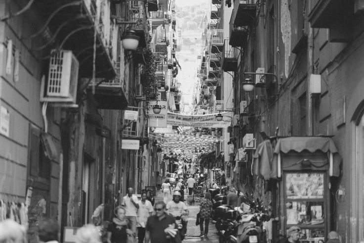 Black-and-white, italian, people, street