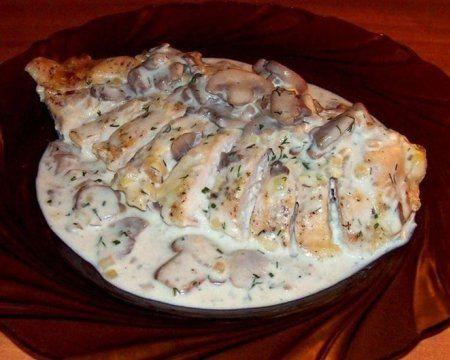 Шампиньоны в сметане с курицей на сковороде