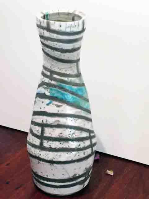 Yvonne Kitchener Large Raku fired striped Vase