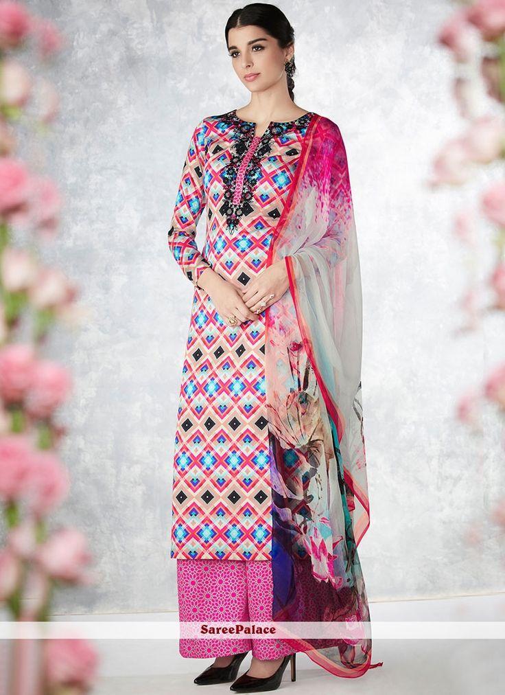 Surpassing Multi Colour Cotton   Palazzo Designer Salwar Suit