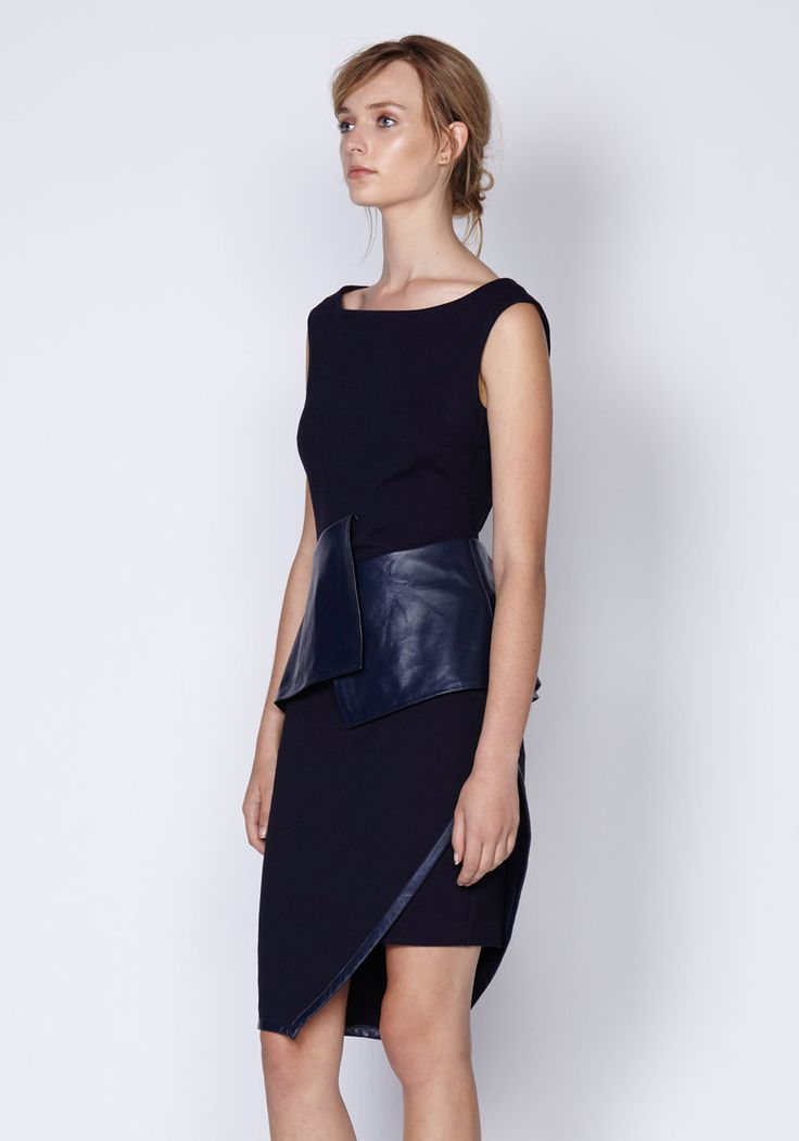 Blaze Leather Peplum Dress In Ink | New In | Shop the latest women's fashion at Oncewas