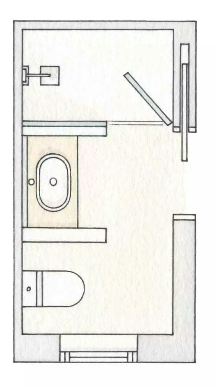 6x9 bathroom layout - Shower Door Swings In
