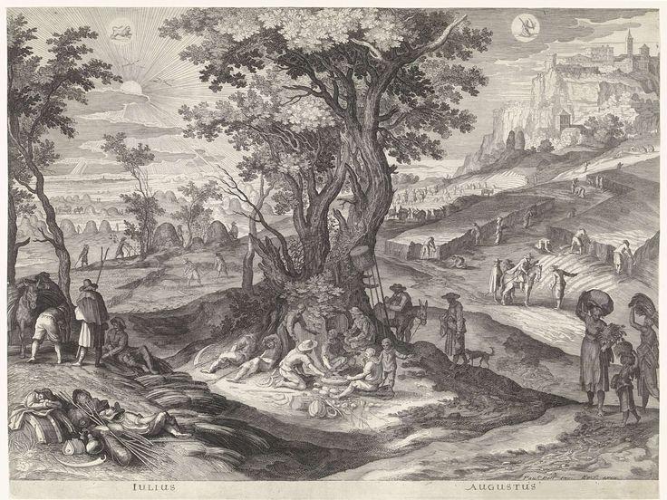 Aegidius Sadeler | Juli en augustus, Aegidius Sadeler, 1615 | Italiaans landschap tijdens de maanden juli en augustus. Centraal staat het hooien en het maaien van het gras(links en het oogsten van het graan (rechts). In het midden zijn enkele landbouwers juist toe aan hun rustpauze. Bovenaan links en rechts de tekens van de zodiak: het sterrenbeeld Leeuw en het sterrenbeeld Maagd.