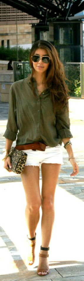 White shorts  a button up shirt.  Spring  Summer Fashion For 2013.  Love her hair too