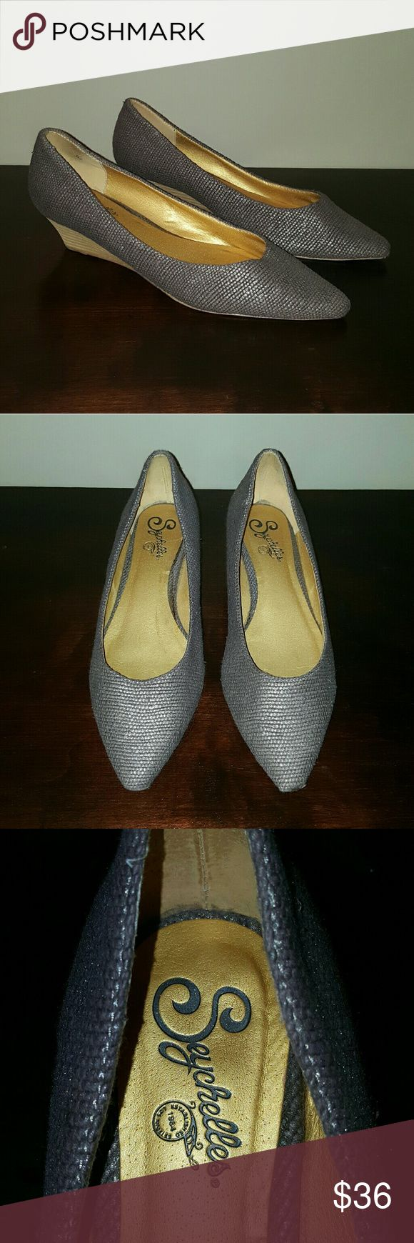 """Seychelles pointed silver metallic wedges Silver metallic stacked heel wedges. 1 1/2"""" wedge. Very light wear. Seychelles Shoes Wedges"""