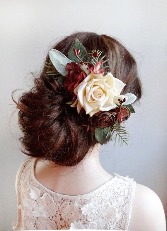 A gorgeous and realistic floral spray for your hair, with an ivory rose, burgundy wildflowers, and various types of foliage. Theres also a dried pinecone rose.  It looks amazing clipped alongside a veil, but also on its own. Can be worn alongside an updo/bun, or a half-up/half-down hairstyle. – MADE TO ORDER, ships in 1-2 weeks. Rush service also available. – COLORS: deep red (almost burgundy), forest greens, ivory – ATTACHES: with a metal alligator clip  –––– SHIPPING / POLICIES –––– I…