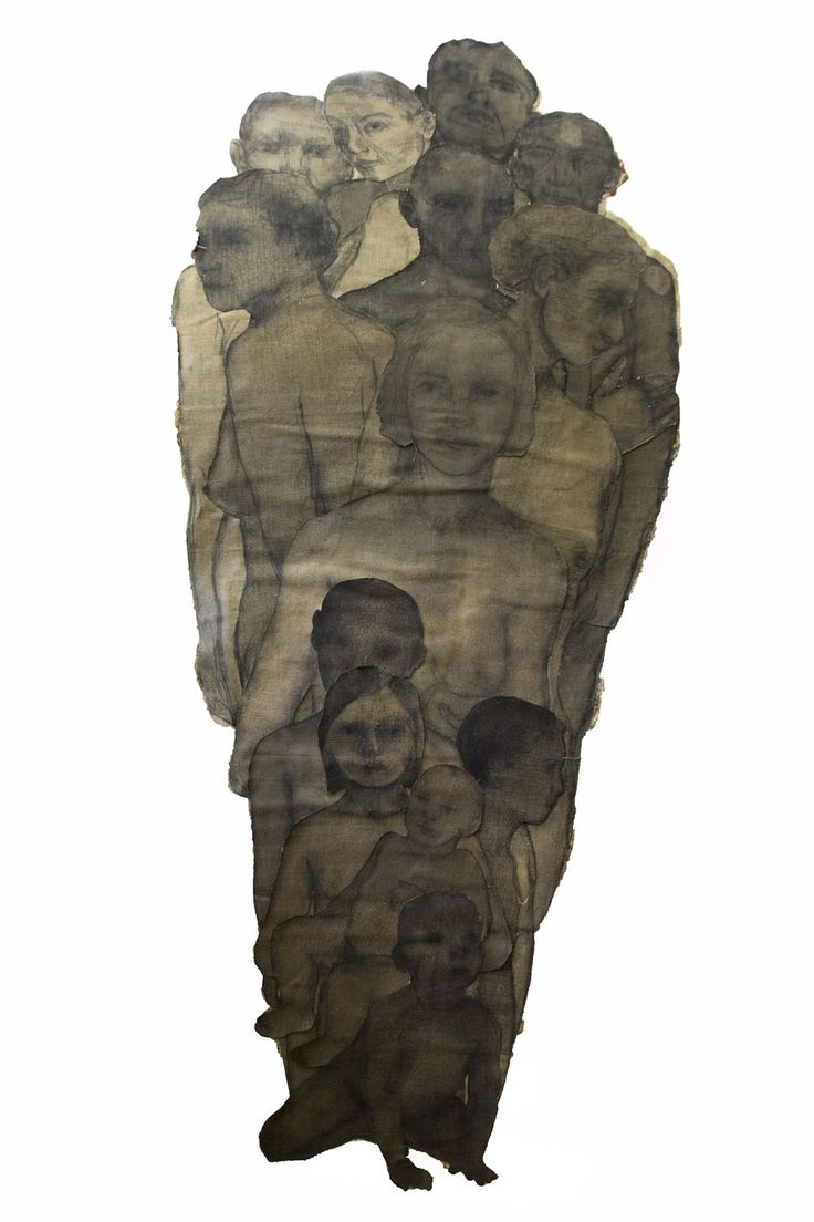 An original work by Shany van den Berg entitled: cut out family charcoal & rabbit skin glue on vintage linen cut outs 215 x 150cm #shanyvandenberg #cutout #family #contemporaryart #cutoutfamily #fineart #southafricanart #southafricanartist #knysnafineart For more please visit www.finearts.co.za