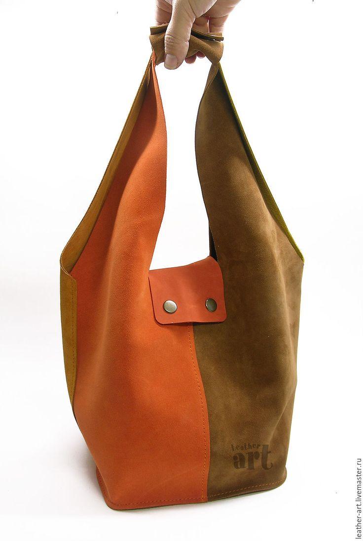 Купить Сумка-мешок кожаная женская Осень - оригинальная сумка, женская сумка, кожа натуральная