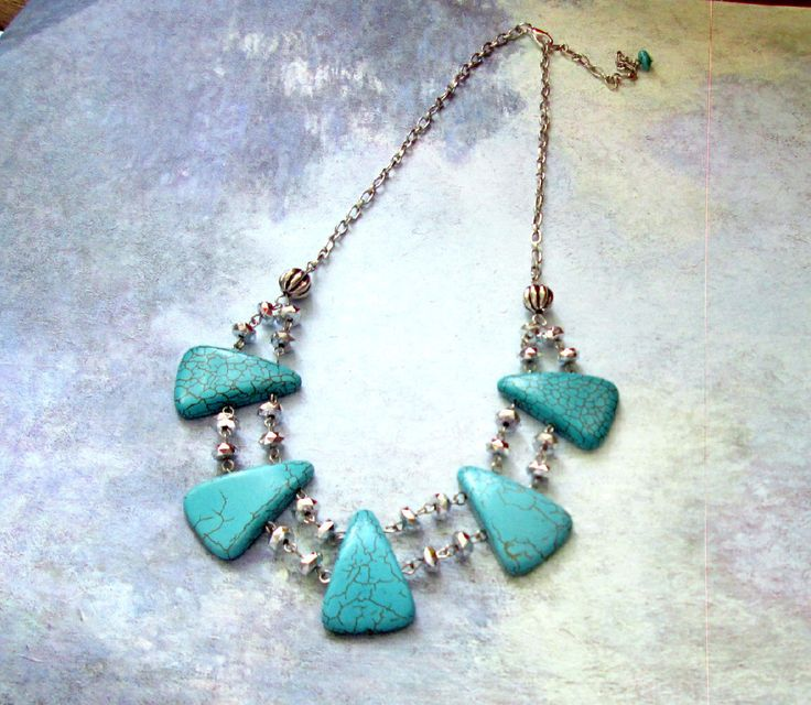 A personal favorite from my Etsy shop https://www.etsy.com/ca/listing/238482298/big-bold-chunky-turquoise-necklace