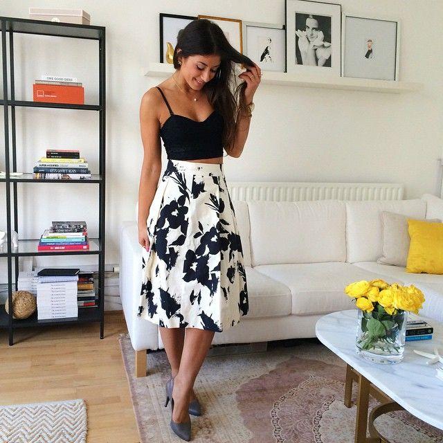 Mimi Ikonn | Black crop top, high waisted skirt, heels