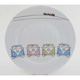 £8.49 VW Camper Van Dinner Plate. A beautiful range of china VW Camper Van ceramics to collect, and you don't have to be some VW Splitty aficionado, it's a beautiful dining set regardless of your motoring affections.