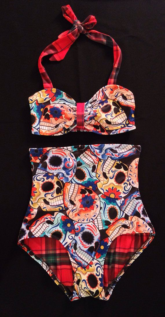 High Waist Bikini is made sugar skull and plaid Lycra. Extra High waist bottom is fully lined with red plaid lycra, has elastic on legs and waist.