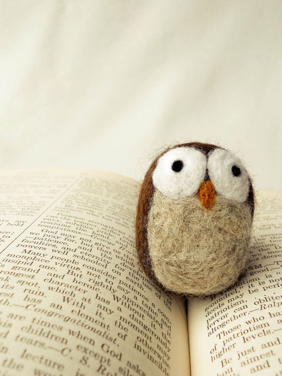 Needle Felted Wooly Owl by handmadebybrynne on Etsy