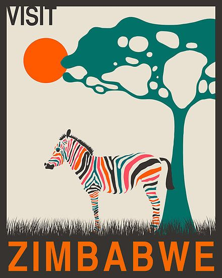 ZIMBABWE, AFRICAN Travel Poster, Retro Pop Art                                                                                                                                                                                 More