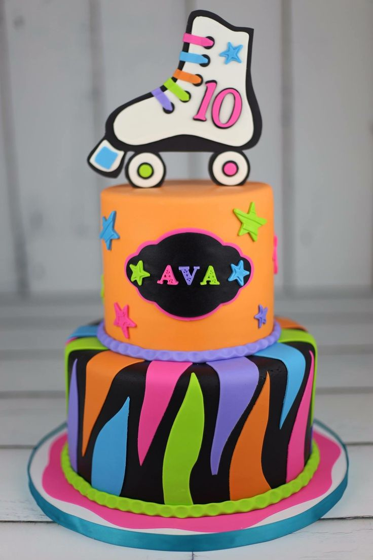 Rollerskating Birthday Cake