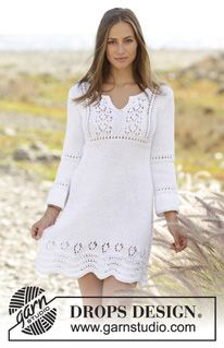 Candice - Knitted dress with lace pattern and ¾ sleeves in DROPS Paris. Size: S - XXXL - Free pattern by DROPS Design