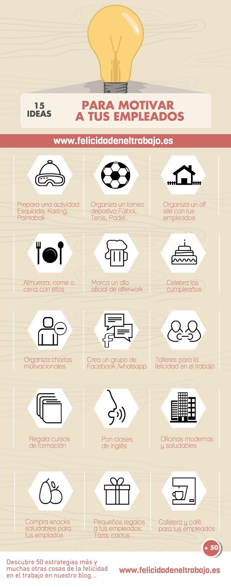 Hola: Una infografía con 15 ideas para motivar a los trabajadores. Vía Un saludo