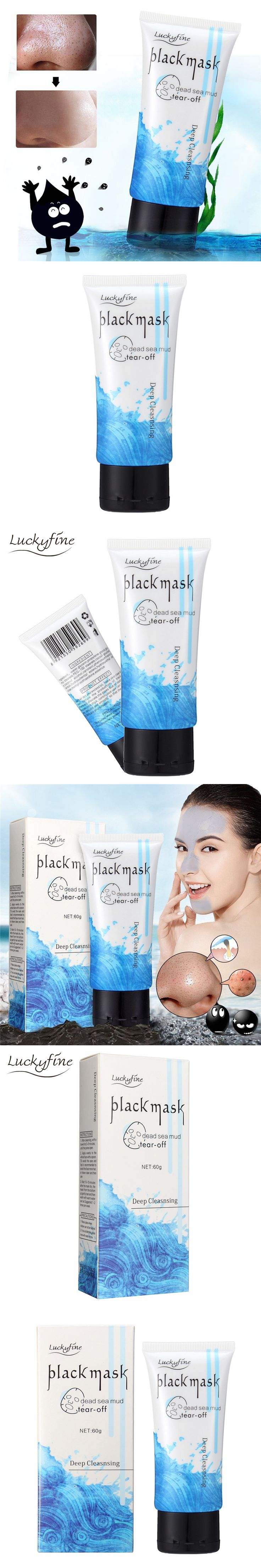 Luckyfine Deep Skin Cleanser Dead Sea Mud Mask Black Mask For Face Acne Oily Skin Mud Mask Face Skin Care Blackhead Removal
