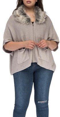 Bobeau Carlie Plus Size Cardigan With Faux Fur Collar.