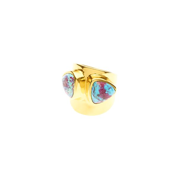 PUSHMATAAHA // Draco Ring / Blue Purple Turquoise with Gold Plate