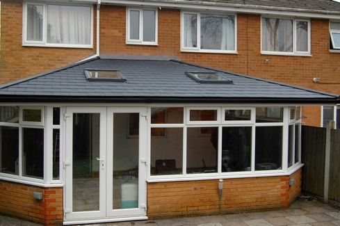 Click on the link to see the before and after pictures of this Conservatory Roof upgrade from polycarbonate to Real Roof, Tiled Roof, Warm Roof.
