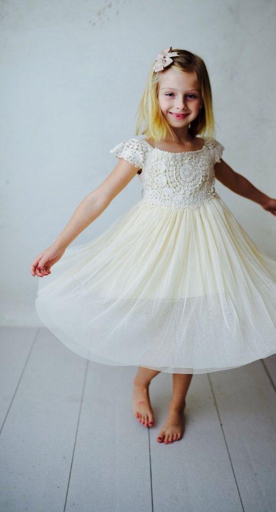 ($48 6/1/17 HC) Ships Free Flower Girl Crochet Dress Boho Girls Dress