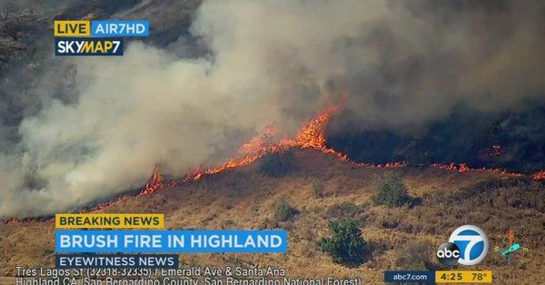 #Media #Oligarchs #MegaBanks vs #Union #Occupy #BLM #SDF #Humanity   [VIDEO] UPDATE: #bridgefire is now 350 acres, according to @SanBernardinoNF  http://abc7.com/news/200-acre-brush-fire-burns-in-highland/2218540/  A fast-moving brush fire in Highland charred dry vegetation during a hot Friday afternoon.  The blaze was first reported around 2:30 p.m. with the fire burning around 25 acres near Greenspot Road and Santa Ana Canyon Road...