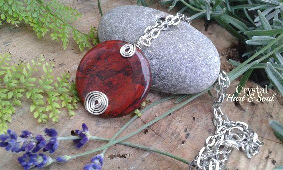 Red Jasper pendant necklace Celtic style pendant wirework