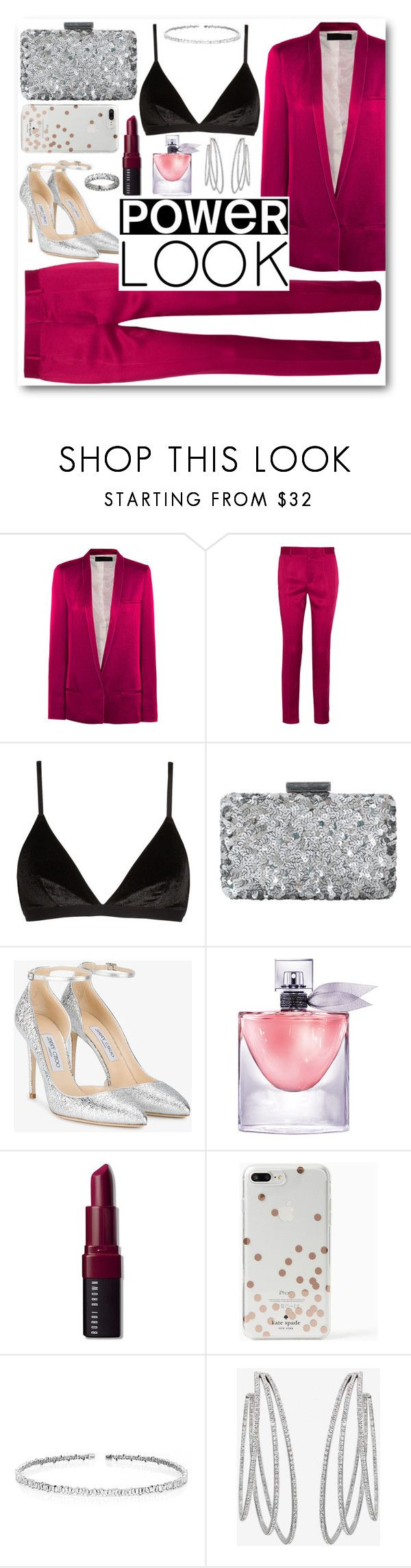 """Pink suit"" by alexa-girl2 ❤ liked on Polyvore featuring Haider Ackermann, Madewell, Oscar de la Renta, Jimmy Choo, Lancôme, Bobbi Brown Cosmetics, Kate Spade, Suzanne Kalan, Messika and Cartier"