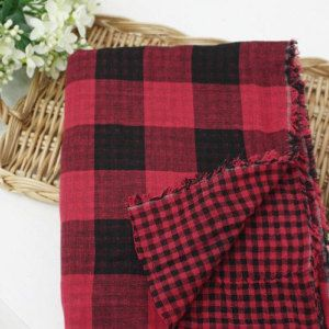 Cotton Double Gauze Black and Red Plaid Buffalo Check - By the Yard 14569