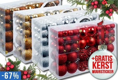 Kerst aanbieding: korting op set van 100 onbreekbare kerstballen van kunststof