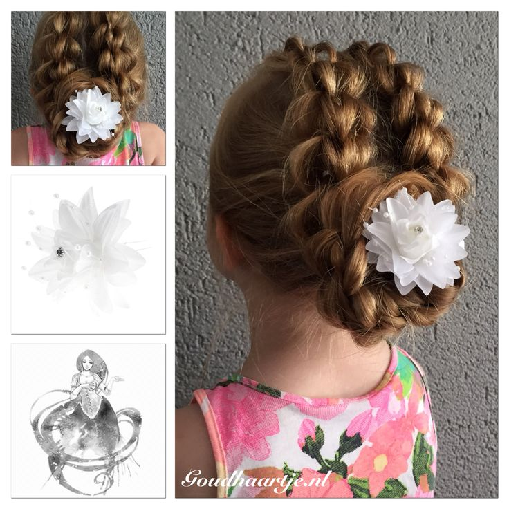 A messy 3 strand pull through braid updo with hairflower hairpin from Goudhaartje.nl #pullthroughbraid #3strandpullthroughbraid #braid #hairstyle #hairflower #hairpin #hairaccessories #vlecht #haarstijl #haarbloem #haarpin #haaraccessoires #goudhaartje