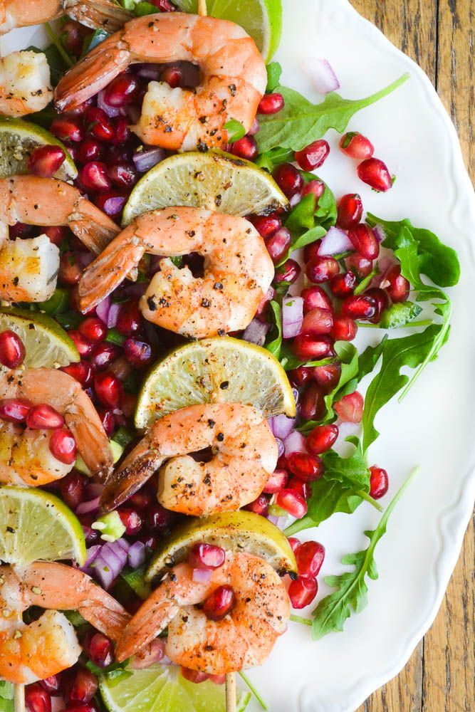 Grilled Shrimp with Pomegranate Salsa (practically calorie ...