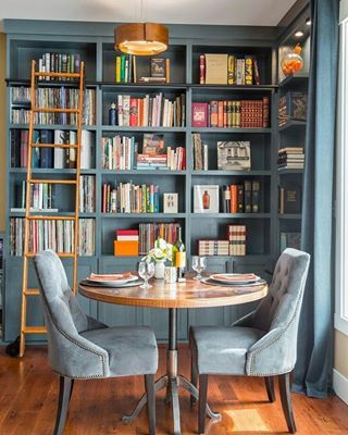 Imagine hosting fancy brunches here. | 22 Home Libraries That Will Give You Serious Reading Goals