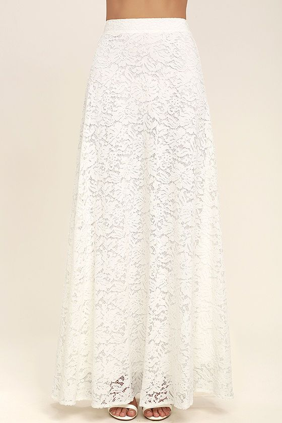 Lulus Exclusive! The second you see the Love at First Sight White Lace Two-Piece Maxi Dress, you'll know it was meant to be! Woven poly shapes a wide-cut, crop top, with skinny straps, that pairs perfectly with a matching high-waisted, lace maxi skirt (with a bit of elastic at back). Hidden side zipper/clasp.