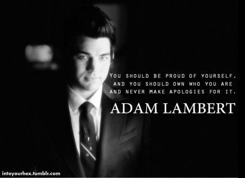 """ you should be proud of yourself and you should own who you are and never make apologies for it""      ADAM LAMBERT <3"