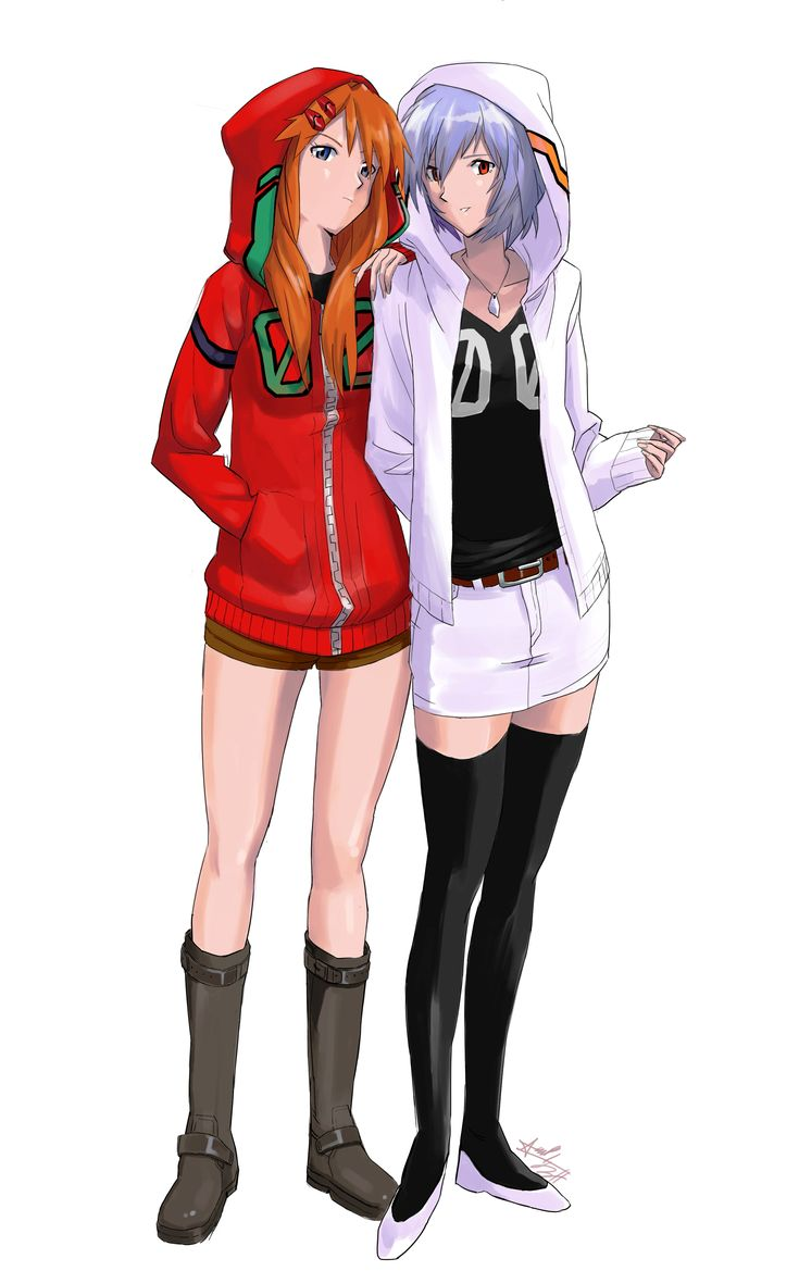 Evangelion: Hanging out with our hoods.
