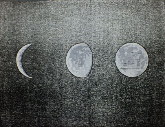 Phases of the moon woodcut print  original by LauraLongPrintmaker