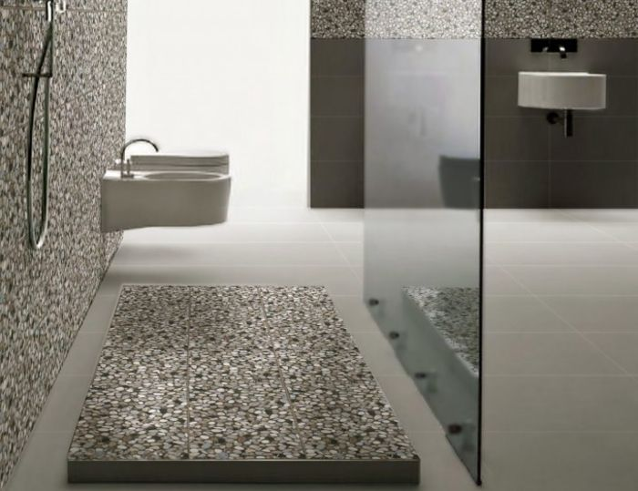 Carrelage galet pour la salle de bain beige with faience - Carrelage exterieur bricoman ...