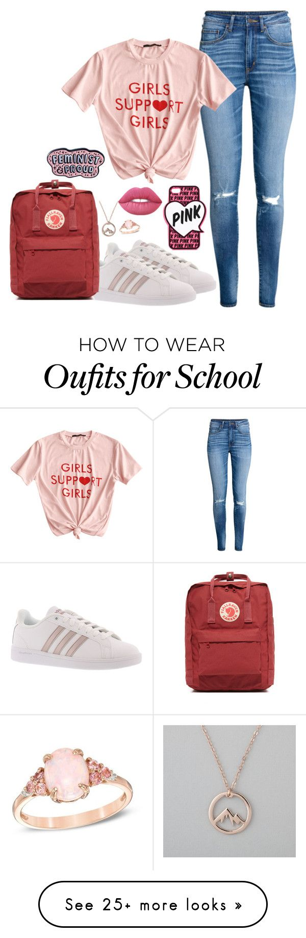 """""""School"""" by cholleemarie on Polyvore featuring H&M, Victoria's Secret, adidas, Lime Crime, Fjällräven and Punky Pins"""