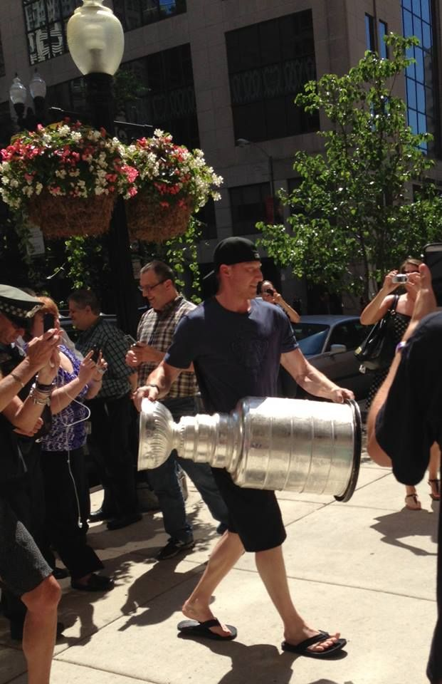 The Stanley Cup making a surprise appearance at the Bentley Dealership next door! Go Hawks!