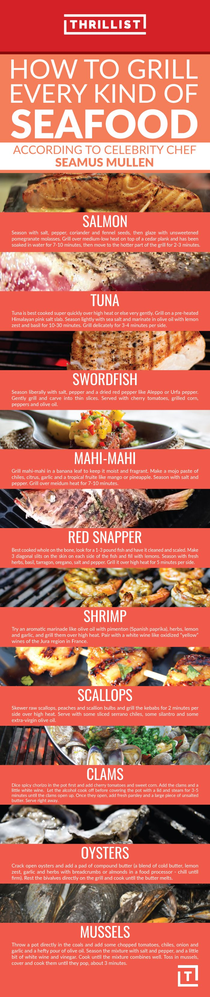 Here, Chef Seamus Mullen explains his favorite ways to grill 10 different types of seafood… and what to drink them with.