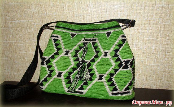 Зеленая сумка в этническом стиле - колумбийской мочилы.