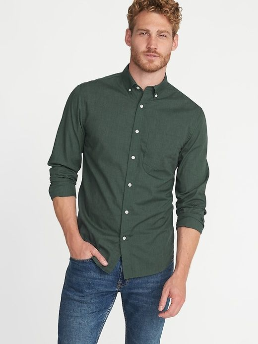 861deb75a8d94 Shop Old Navy's Slim-Fit Poplin Shirt For Men: It can be hard to do two  things well at the same time. Like rubbing your stomach and patting your  head ...