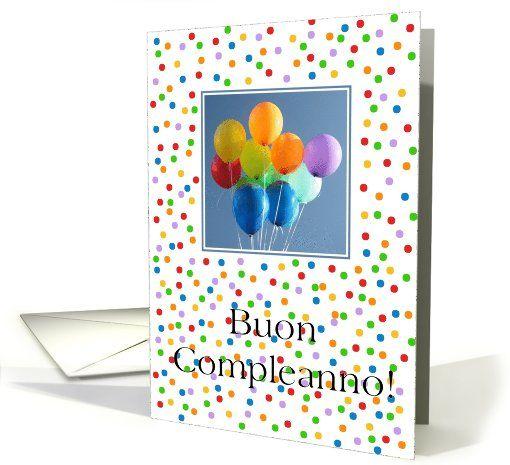 Birthday, Italian card, Buon Compleanno - colored balloons card