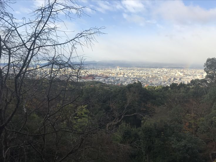 Yotsutsuji intersection on Mt Inari with breathtaking views of Kyoto and surrounds.
